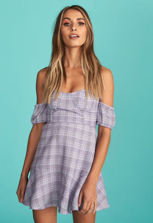 Tropea Off Shoulder Mini Dress - PURPLE TARTAN