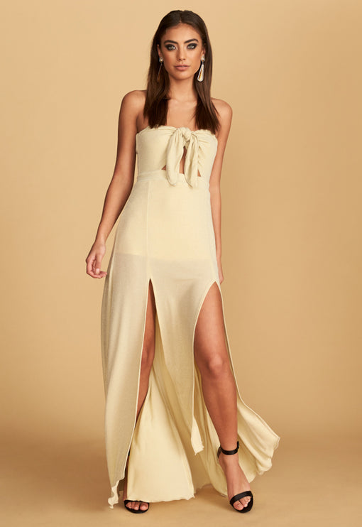 The Adrianne Strapless Maxi Dress - CHAMPAGNE