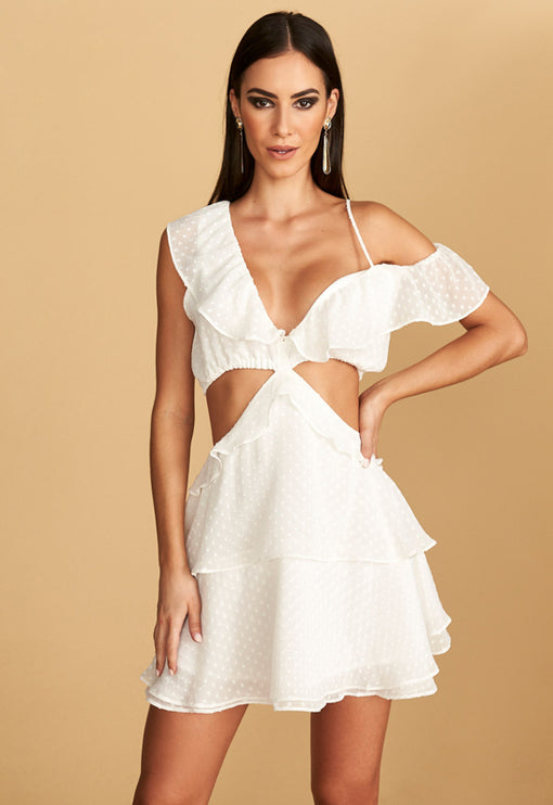 Flamenco Mini Dress - WHITE