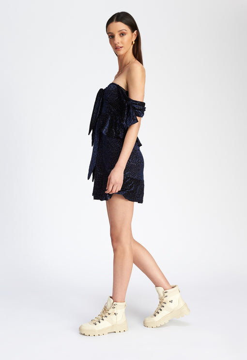 Brooklyn Off Shoulder Dress - NAVY BURNOUT