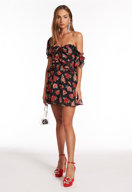 Brooklyn Off Shoulder Dress - RED ROSE