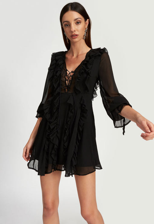 Hotline Bling Mini Dress - BLACK