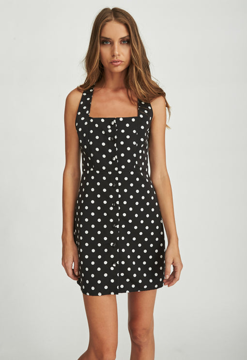 Chasing Feelings Dress - BLACK POLKA