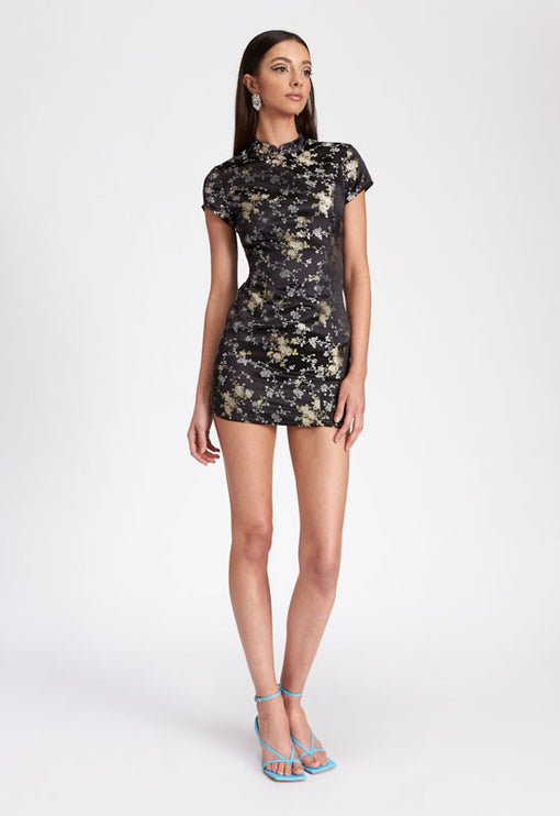 The Mattie Mini Dress - BLACK JACQUARD