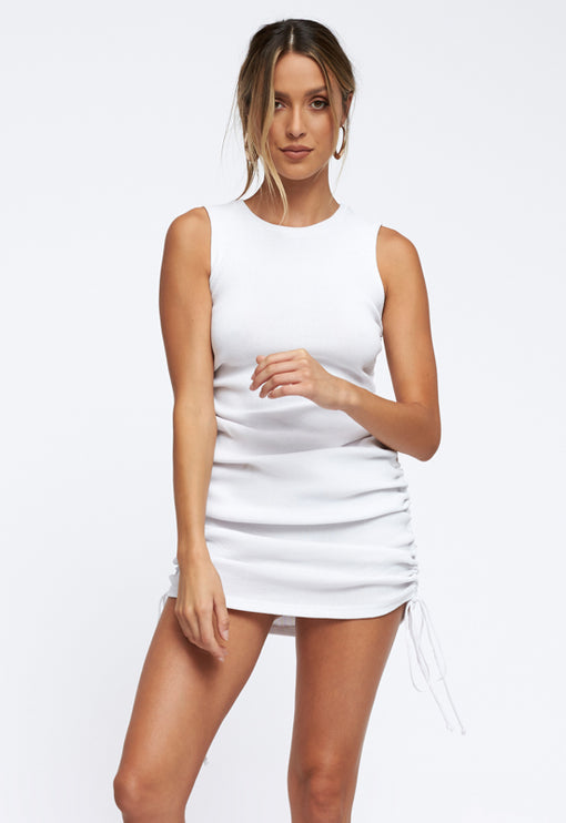 Military Minds Mini Dress - WHITE