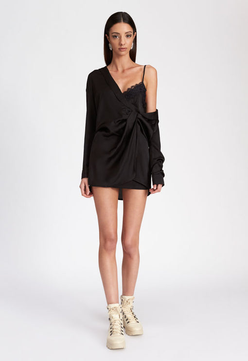 Downtown Girl Mini Dress - BLACK