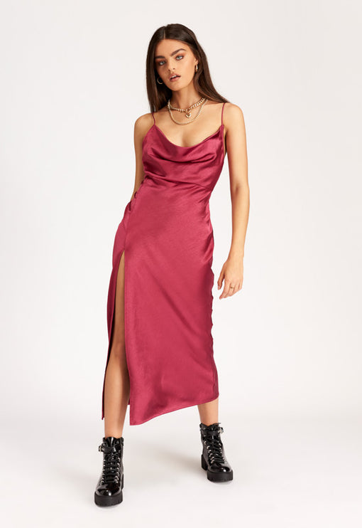 Walk The Line Midi Dress – MAGENTA