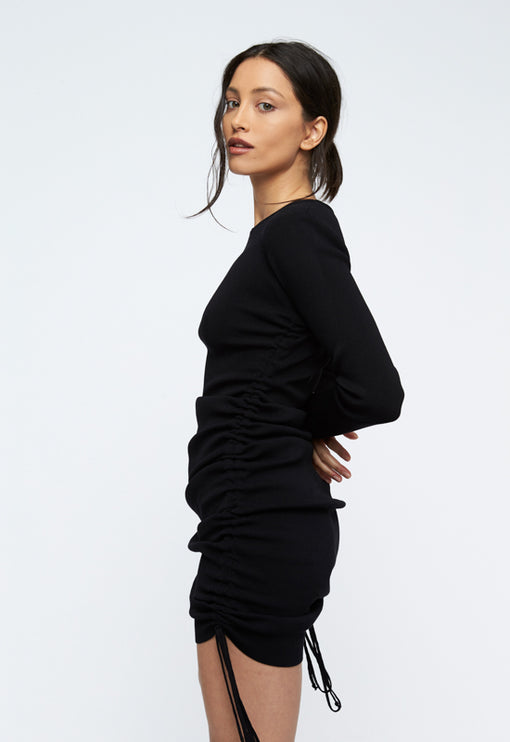 Military Minds Long Sleeve Dress - BLACK
