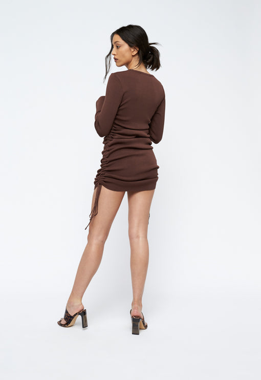 Military Minds Long Sleeve Dress - COCOA
