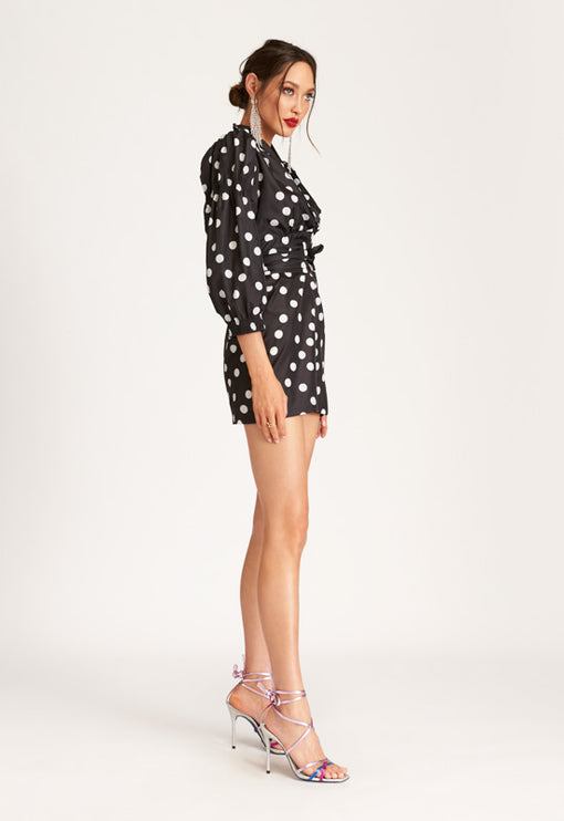 We Found Love Mini Dress - BLACK BASED POLKA