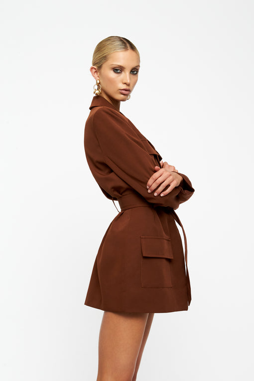 Steinway Mini Dress - BROWN