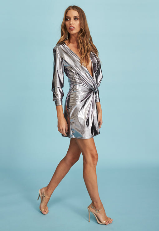 Fame And Lust Dress - SILVER LAMÉ