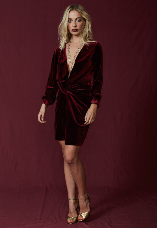 Fame And Lust Velvet Dress - WINE