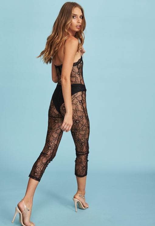 Broadway Lace Jumpsuit - BLACK