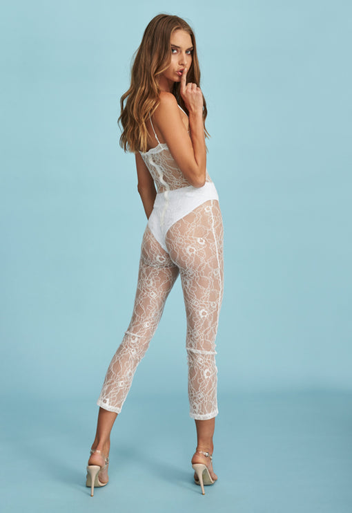 Broadway Lace Jumpsuit - WHITE