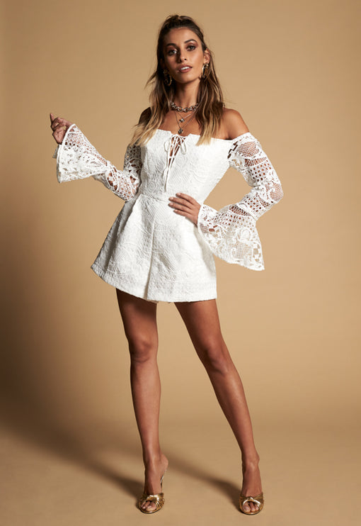 Be My Lover Playsuit - WHITE