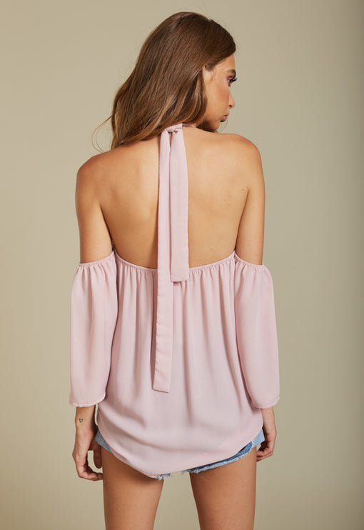 Forever Flirting Cold Shoulder Top - BLUSH