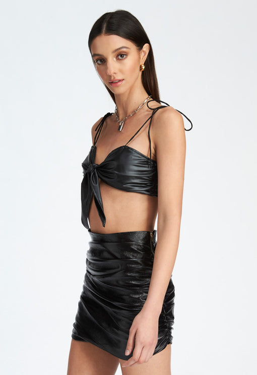 Lula Crop Top - BLACK LEATHER