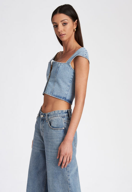 Papa Don't Preach Top - LIGHT DENIM
