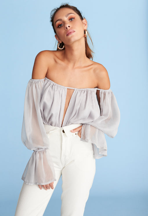 Richie Off Shoulder Top - CLOUDY GREY