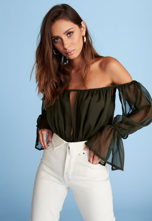 Richie Off Shoulder Top - KHAKI