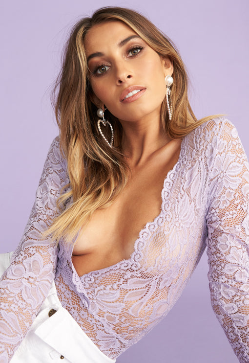 Sweet Dreams Lace Bodysuit - PURPLE