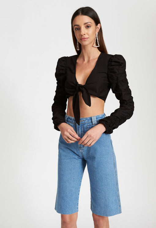 Jet Black Tie Up Crop - BLACK