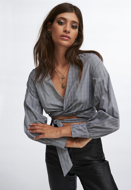 Lust And Caution Wrap Top - CHECK