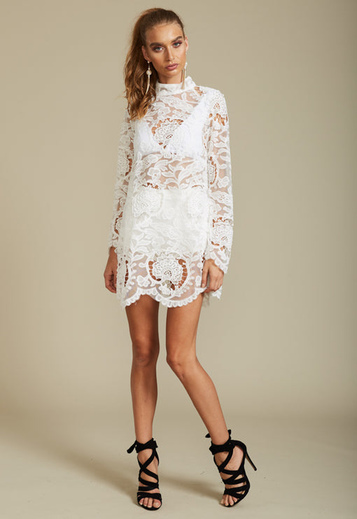 City Lights Lace Dress - WHITE