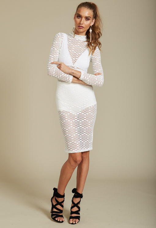 Domino Effect Midi Dress - WHITE