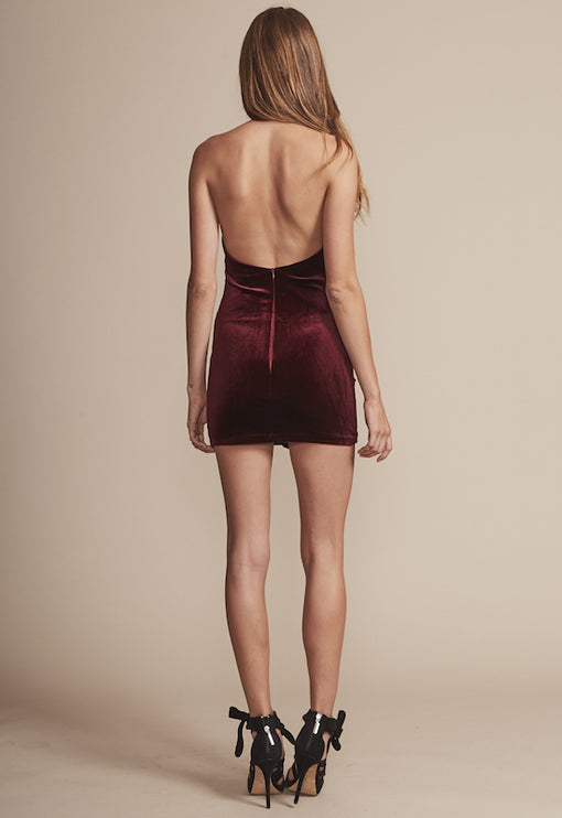 Atlantic City Velvet Mini Dress - WINE