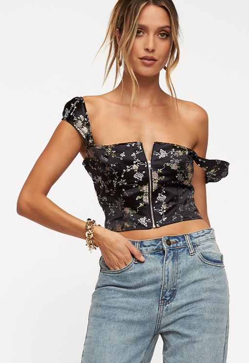 Papa Don't Preach Top - BLACK JACQUARD