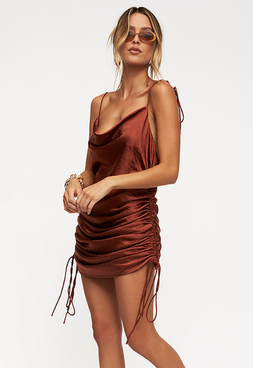 String Along Mini Dress - RUST