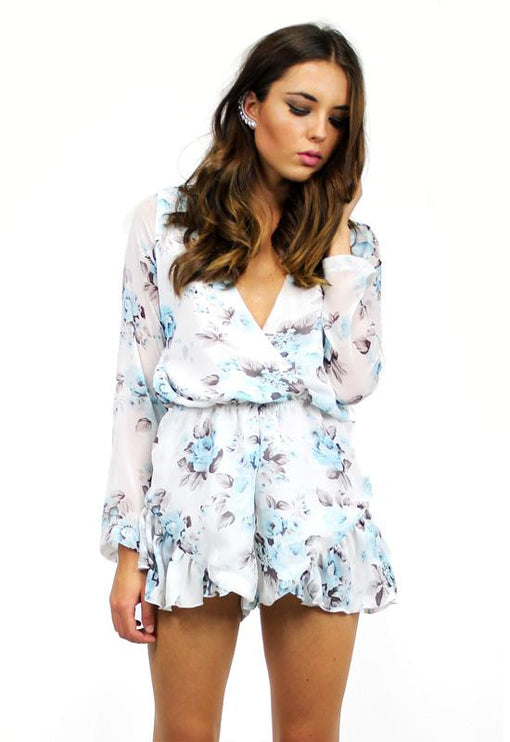 His Girl Floral Playsuit - BLUE