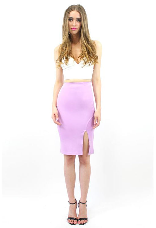 First In Line Neoprene Skirt - LILAC