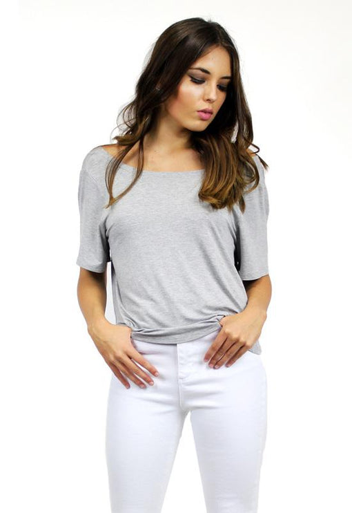 Knot Back Tee - GREY