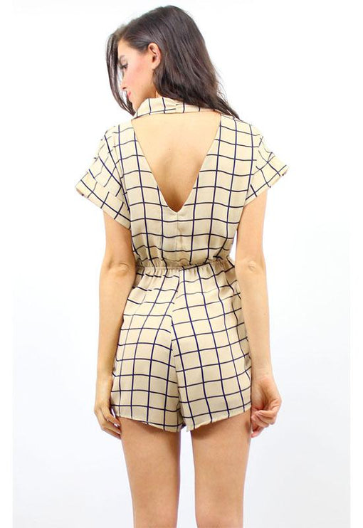 Diamond Love Playsuit - BEIGE