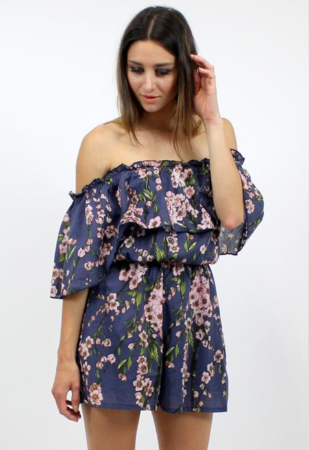 Acoustic Playsuit - NAVY BLOSSOM PRINT