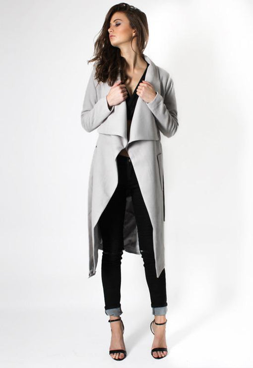 New York Minute Coat Knee Grazer - GREY