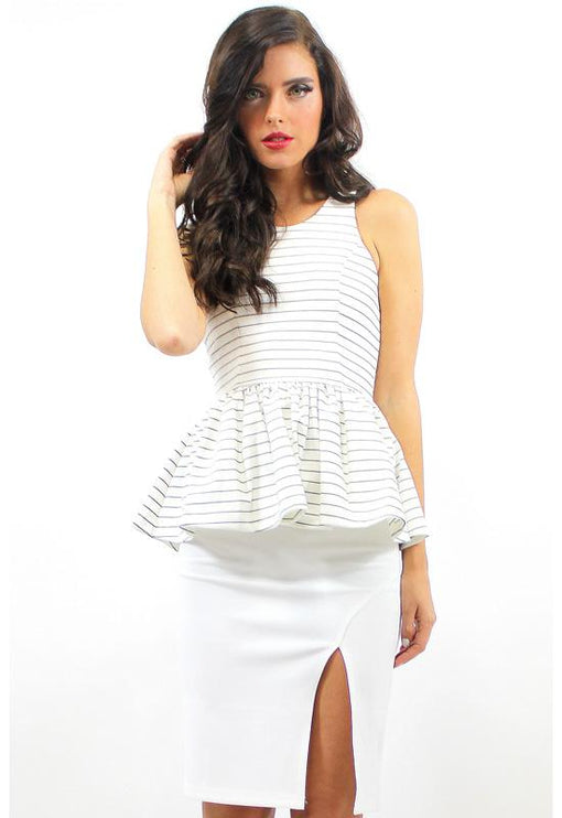 Freya Peplum Top - WHITE