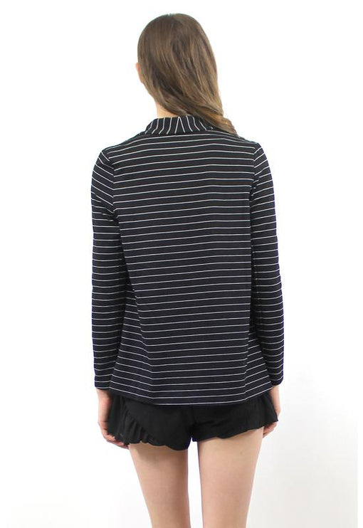 Love Striped Blazer - BLACK
