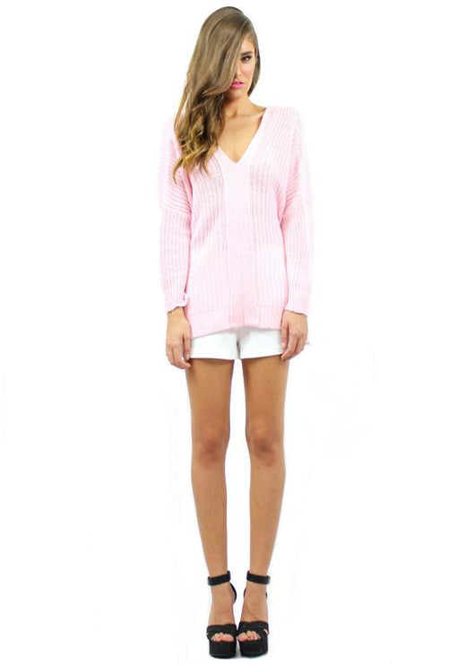 Stacey Tie Back Knit - PINK