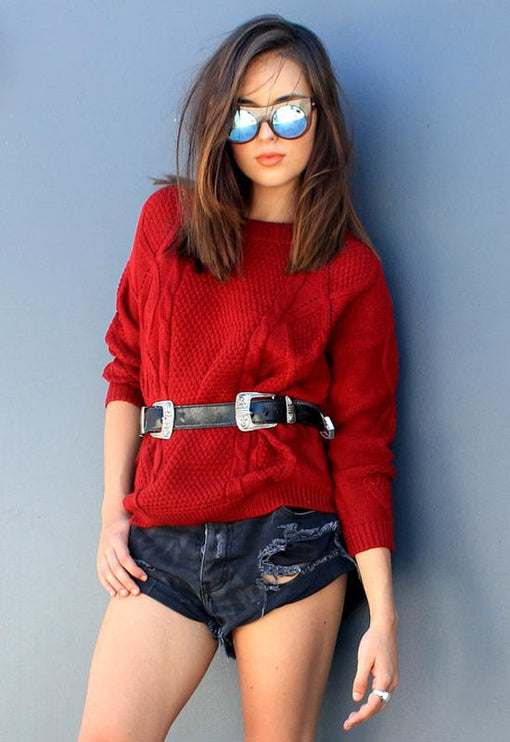 Tahlia Cable Knit - WINE
