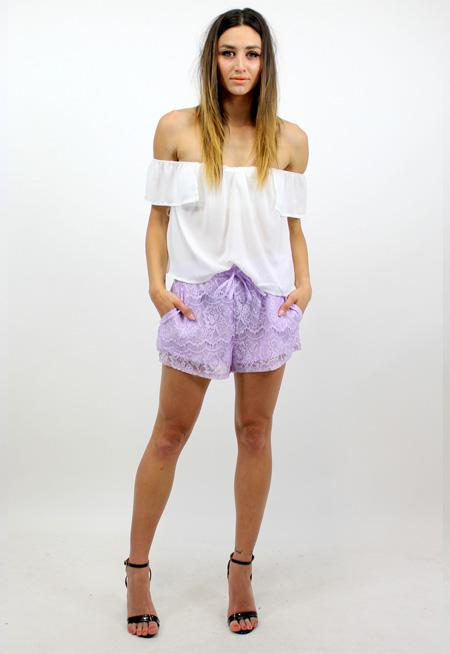 The Sky Crochet Shorts - LILAC