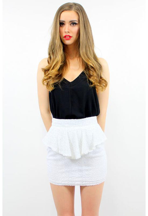 Sequin Peplum Skirt - WHITE