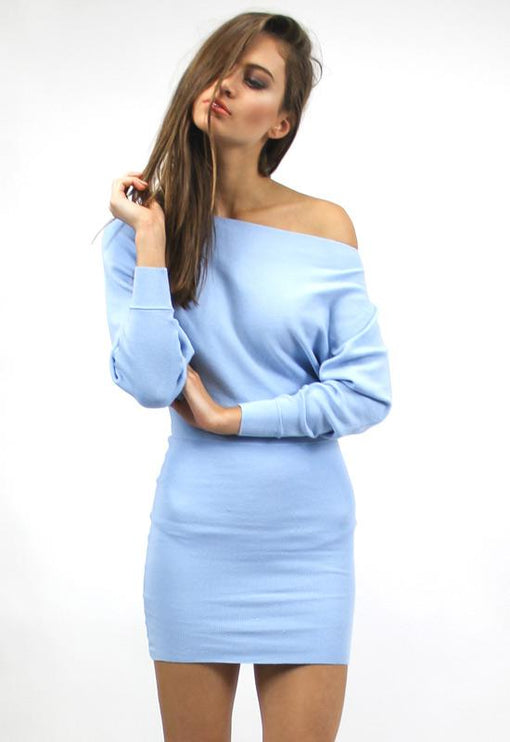 Sonya Off Shoulder Knit Dress - BLUE