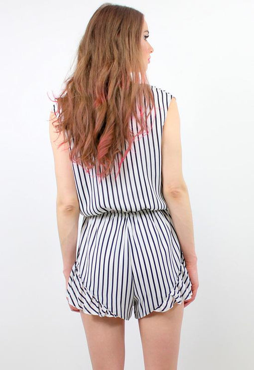 Clarity Playsuit Short Sleeve - WHITE STRIPE