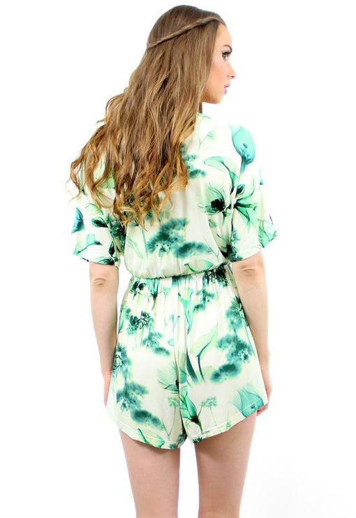 Bloom Plunge Playsuit - GREEN