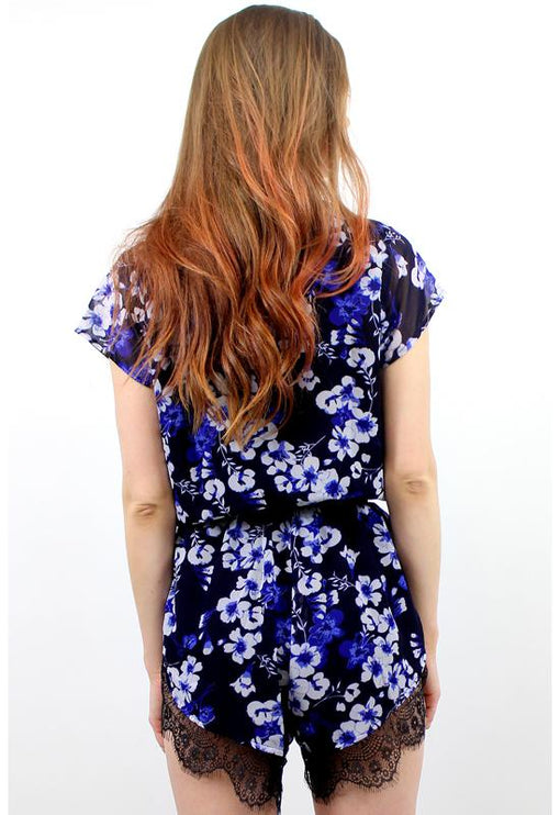 His Girl Holly Playsuit - FLORAL NAVY