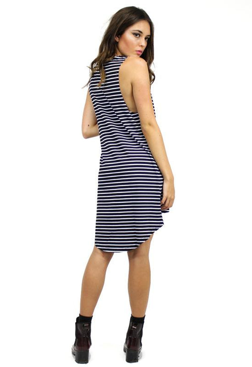 Stripe Tunic Dress - BLACK
